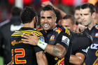 Co-captain Liam Messam celebrates a hard-fought win over the Highlanders on Saturday night. Photo / Getty Images