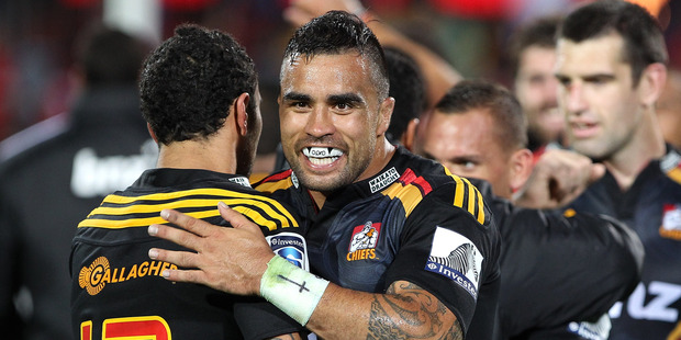 Loading Co-captain Liam Messam celebrates a hard-fought win over the Highlanders on Saturday night. Photo / Getty Images