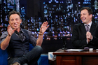 Bruce Springsteen, left, with host Jimmy Fallon. Photo / AP