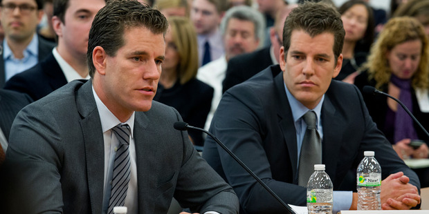 Brothers Cameron, left, and Tyler Winklevoss, hope to follow in the footstep of Sir Edmund Hillary in exploring the possibilities of bitcoins. Photo / AP