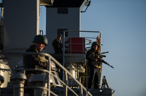 Ukrainian seamen stand guard on the Ukrainian navy ship Slavutich at harbor of Sevastopol, Ukraine. Photo / AP