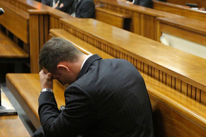 Oscar Pistorius broke down in tears at some of today's testimony. Photo / AFP