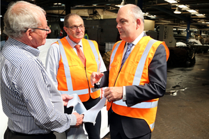 Tasman Tanning managing director Hunter Tait (left), Wanganui MP Chester Borrows and Minister for Economic Development Steven Joyce. Picture / Stuart Munro