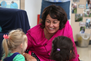 Minister of Education Hekia Parata visits the Onerahi Kindergarten. Photo / Michael Cunningham