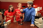 Nick Clark (right), NZ's barista champion, makes a brew with Jesse Hutt and Richard Corney.  Photo / Paul Taylor