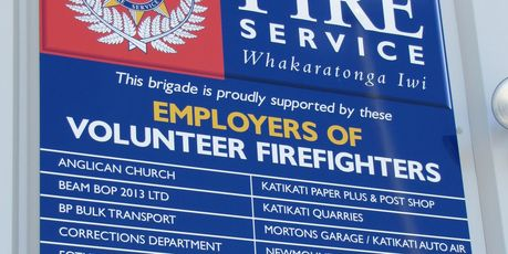 Employers of Katikati volunteer firefighters are acknowledged on a board outside the new station