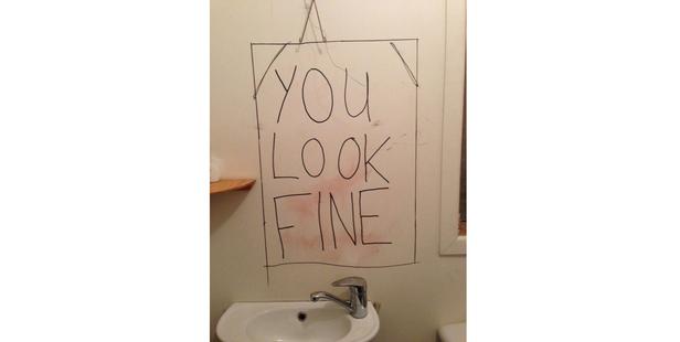 The mirror in the ladies toilet at Raglan venue The Yot Club.