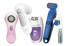 Clarisonic Mia 1 Classic; Olay Regenerist Specialty Cleanser; Remington Smooth & Silky Easy Epilator; Remington WETech Body Hair Trimmer; Talika Tweezer.