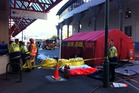 Fire Service and a decontamination tent set up near the scene of the surprise clan-lab discovery. Photo / APNZ