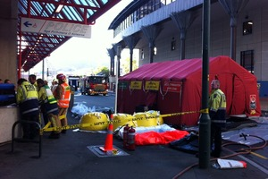 Fire Service and a decontamination tent set up near the scene of this morning's surprise clan-lab discovery. Photo / APNZ