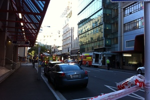 The view down Victoria Street this morning to Chews Lane where the apartment has been raided. Photo / APNZ
