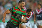 Greg Inglis crossed over three times for the Rabbitohs in their win over the Roosters. Photo / Getty Images