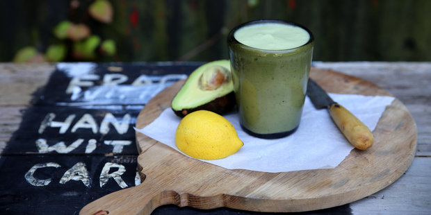 Eleanor Ozich's avocado, banana, coconut water, lettuce, lemon and grape smoothie. Photo / Supplied