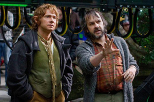 Sir Peter Jackson directs actor Martin Freeman on the Wellington set of The Hobbit. The city's creative sector is one of its successes.