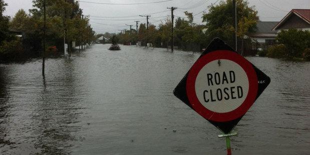 Flooding in Carrick Street, St Albans. Photo / Matty Coleman