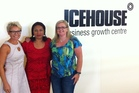 Icehouse executives in residence and mentors Carollyn Chaplin (left) and Debra Chantry (right) with mentee Lufi Rasmussen of Misiluki (centre).