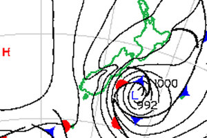 This surface pressure chart from the MetService helps show why Canterbury is experiencing some rough weather right now.