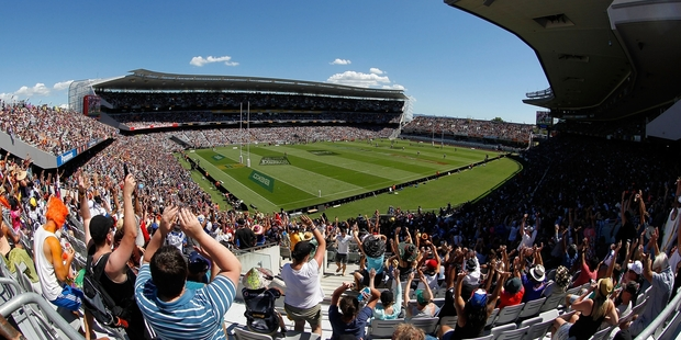 Eden Park has hosted the NRL Nines. The park could be used for concerts, for acts such as the Rolling Stones, in the future. Photo / NZ Herald