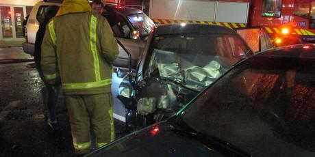 Several vehicles were damaged in Whakatane's main street tonight.