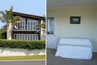 Langs Beach exterior (left) versus Newlands lounge (right). Photos / Trademe