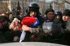 Police detain a demonstrator during a pro-Russian rally in the eastern Ukraine city of Donetsk yesterday. Photo / AP