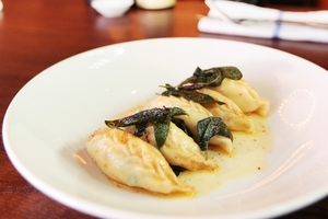 The Sardinian ravioli's hint-of-mint stuffing is delicious. Photo / Doug Sherring