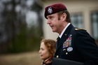 Brigadier General Jeffrey Sinclair, who has been charged with sexually assaulting a junior officer, leaves the courthouse at Fort Bragg. Photo / AP
