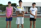Otumoetai Intermediate tennis players, Lucy Schuler (left), Caelan Potts and Liv Donovan-Grammer.