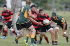 Hikurangi's Dan Torbridge forces his way forward against Mid Western in his side's 22-16 loss. Photo/Ron Burgin
