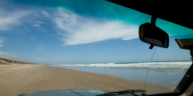 Driving down Ninety Mile Beach.