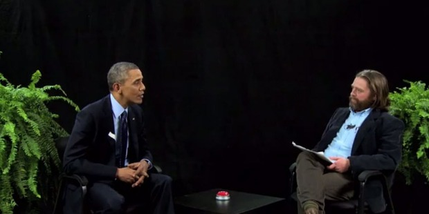President Barack Obama with The Hangover's Zach Galifianakis in Between Two Ferns.
