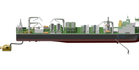 A supplied image showing a mining ship with a seabed 'crawler' which would scoop up the seabed and send the material into the ship for processing.