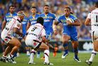 Fuifui Moimoi of the Eels runs at the defence during the round one NRL match between the Parramatta Eels and the New Zealand Warriors. Photo / Getty Images.