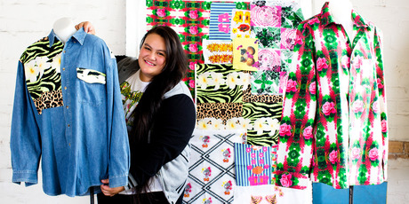 Tepora Malo with her textile designs. Photo / Babiche Martens.