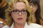 Justice Minister Judith Collins during her stand-up press conference where she revealed she had dinner with the head of Oravida while in China last year.