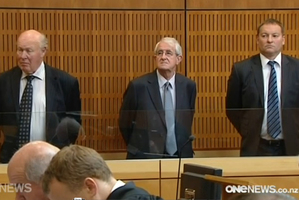 South Canterbury Finance accused From left, Edward Sullivan, Robert White and Lachie McLeod at the Timaru District Courthouse yesterday. Photo / One News
