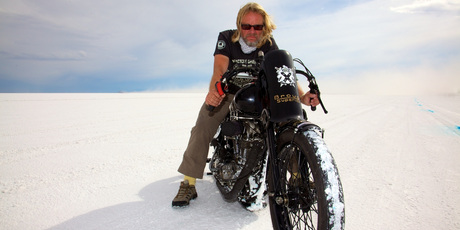 Henry Cole has the chance to break the world land speed record for a pre-1955 bike on the Bonneville Salt Flats in Utah. Pictures / Gary France