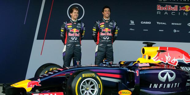 Infiniti Red Bull Racing drivers Sebastian Vettel of Germany, left, and Daniel Ricciardo of Australia, right. Photo / AP