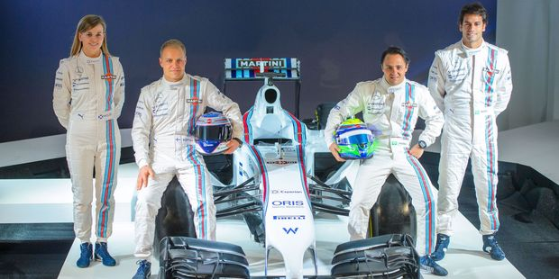 Williams Martini driver's from left Susie Wolff, Valtteri Bottas, Felipe Massa and Felipe Nasr pose during a photocall at the official launch of the Williams 2014 Formula One team. Photo / AP
