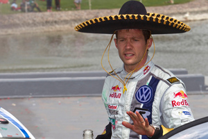 Volkswagen Motorsport team driver Sebastian Ogier, from France, wears a Mexican Sombrero after winning the Mexico Rally in Leon, Mexico. Photo / AP