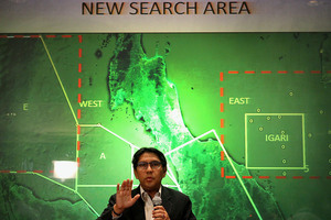 Malaysia's Department of Civil Aviation's Director General Azharuddin Abdul Rahman briefs reporters on search and recovery efforts. Photo / AP