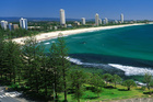 The view to Surfers Paradise from Burleigh Heads. Photo / Gold Coast Tourism