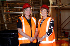 Business and planning director Merle Boniface (left) and principal Heather McRae check on progress. Photo / Chris Gorman