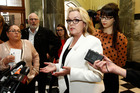 Justice Minister Judith Collins during her stand-up press conference where she revealed she had dinner with the head of Oravida while in China last year. Photo / APN