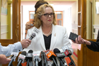 Justice Minister Judith Collins during her stand-up press conference where she revealed she had dinner with the head of Oravida. Photo / Mark Mitchell