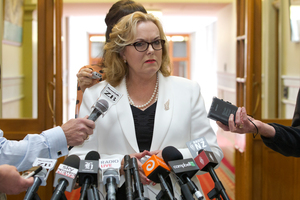 Justice Minister Judith Collins' bad week keeps getting longer. Here she is during her stand-up press conference where she revealed she had dinner with the head of Oravida. Photo / Mark Mitchell