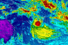 Tropical Cyclone Lusi pictured here having passed Vanuatu and heading straight for New Zealand. Credit NOAA