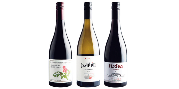 Pyramid Valley Earth Smoke Pinot Noir 2011; Bell Hill Chardonnay 2010; Arden No 3 Limestone Pinot Noir 2011.