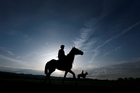 The dawn of racing's greatest jumps extravaganza, the Cheltenham Festival, is captured in this shot of two participants exercising on the course. Photo / AP