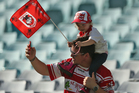 Dragons fans show their support during the round one NRL match between St George Illawarra and the Wests Tigers. Photo / Getty Images